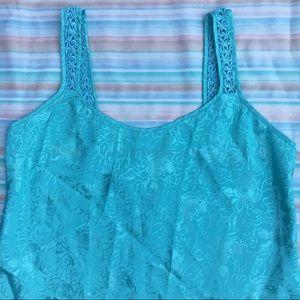 Vintage Intimates & Sleepwear - Vintage Mint Rose Pattern Satin Camisole